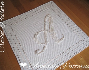 Crochet Pattern Letter A Monogram blanket PDF instant download, personalised, initials, lap, christening, uk and us versions No31