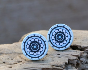 Mandala Studs, Pastel Blue, Bohemian Posts, Boho Chic, Elegant Studs, Whimsical Hippie, Jewelry Gift under 20, Original Unique Jewellery
