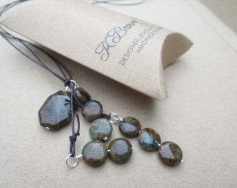 Jasper Y Necklace, Gemstone Lariat, Handmade Lariat, Edinburgh Jewellery Designer, K Brown Jewellery, Gemstones to Glamour Jewellery, U.K.