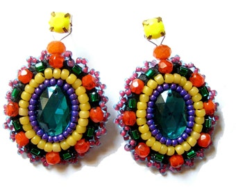 Bead embroidered earrings - Elena