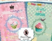 75% OFF SALE SWEET Patisserie 02 Aceo Digital Collage Sheet Large image Digital Collage Polka dots Shabby cakes Cupcakes Glitter Instant Dow