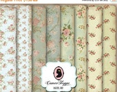 75% OFF SALE DIGITAL Paper Digital Collage Sheet set of 8 Shabby Roses No 02 Background 5x7 inches images Scrapbooking