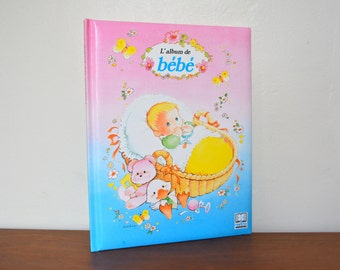 Vintage 90s French Baby Album. Baby First Book. Baby Record Album. Unisex Baby Shower Gift Idea. Printed in Belgium