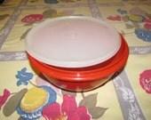 Vintage Red Tupperware Bowl with lid