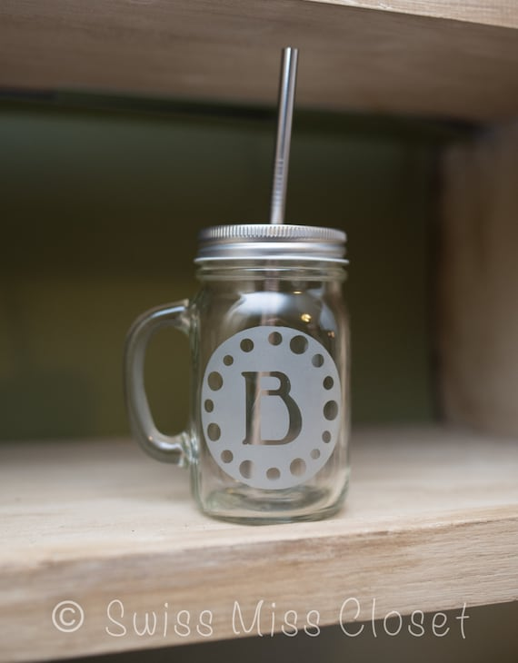Custom Monogram Etched on Handled Mason Jar To Go Cup With Stainless Steel Straw 16oz Eco Friendly