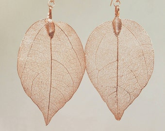 Rose gold bohemian minimal leaf imprint earrings. Delicate light weight statement earrings.