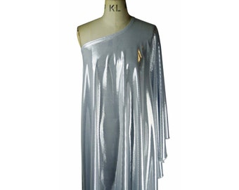Baylis & Knight Silver  STUDIO 54 Batwing 70's Disco Queen Glam One Shoulder Bat Wing Dress Elegant. Free UK Shipping.