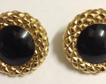 Vintage Art Deco Style Gold Tone Onxy Earrings