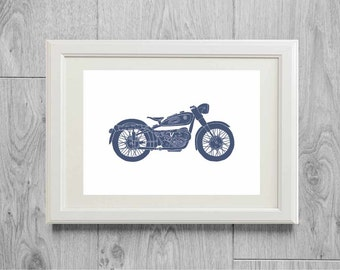 Motorcycle poster - Illustration blue moto - Home art wall decor - 8*10 & A4 size - Printed on matte paper
