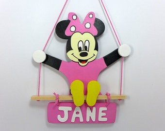 Wooden name sign, custom wooden toy,  gift for kids, custom name sign, minnie mouse, custom door sign, toddler gift, wood toy