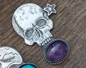 Skull Amethyst Ring Custom Size Made to Order Gothic Wiccan Pagan Sterling Silver Original Jewelry ERC Alleyec
