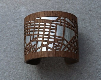 Boston Map Cuff Bracelet | City Map Bracelet | Map Jewelry | Wood Bracelet | Custom Bracelet | Custom Gifts for Her | Laser Cut Jewelry