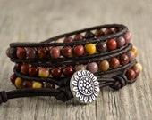 Mookaite beaded bracelet. Multicolor earthy jewelry. Sunflower button wrap bracelet