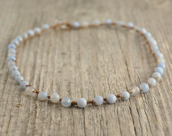 Pale blue beaded necklace. Surfer girl jewelry