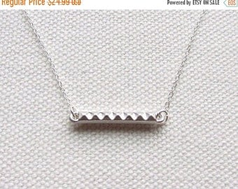 Silver Bar Necklace Pyramid Stud Necklace Sterling Silver Studded Bar Girlfriend Gift Minimal Silver Bar Stick