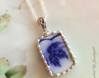 Broken China Jewelry. Broken China Necklace, Flow Blue China Jewelry