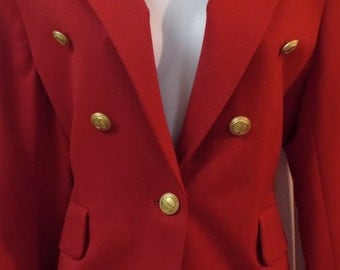 Christian Dior Suit Red Wool Skirt Suit Vintage Size 6 Elegant Business Pleated Gold Buttons Women's Vintage
