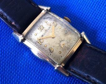 "Bulova Watch, Vintage Bulova Swiss ""Ardsley"",  L1 1951, Step Sides, Art Deco, Yellow Gold RGP, Sub Seconds, FREE SHIPPING"
