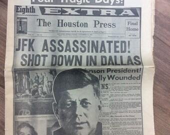 John F. Kennedy JFK Houston Press 1963 Newspaper Four Tragic Days Assassination