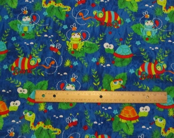 Blue Turtle/Gecko/Reptile Cotton Fabric by the Yard