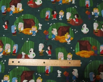 Green Peanuts Gang Christmas Play/Nativity Cotton Fabric by the Half Yard