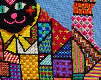 OOAK needlepoint canvas work Cat by Carol Rasmussen Noble