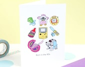 Born in the 90's, Retro Throwback, childhood gadgets, Illustration Birthday Greeting Card