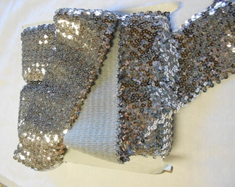 "2 Yards of 4"" Silver Stretch Sequins Trim"