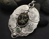 Large Tibetan turquoise & green tourmaline sterling silver pendant or statement necklace, blue green stone, ancient looking, cratered stone