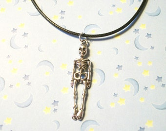 Skeleton Charm Necklace, Creepy cute, Pastel Goth Necklace