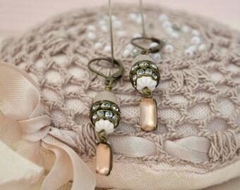 Rhinestone Ear Drops / Shabby Chic Earrings / Vintage Earrings