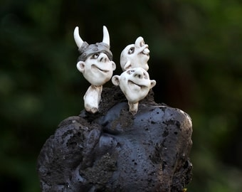Sculpture on lava stone of creatures of fantasy,unique gift idea,desk accessory