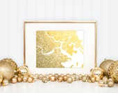 Boston Map, Gold Foil Print, Gold Print, Gold Foil Wall Art, Map Wall Art, Trendy Art, Gold Wall Decor, Boston Map Print, Foil Print
