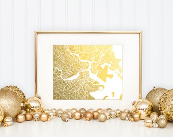 Boston Map, Gold Foil Print, Boston Wall Art, Gold Foil Map Wall Art, Trendy Art, Boston Print, Poster, Gift for Traveler, Foil-Pressed Map