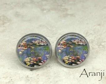 Monet Waterlilies earrings, Waterlilies earrings, Monet earrings, fine art earrings, Claude Monet Waterlilies, Monet stud earrings, AR131E