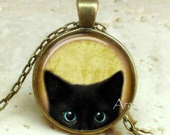 Black kitten pendant, black cat pendant, black cat necklace, black cat jewelry, black kitten photo art pendant, Pendant #AN116BR