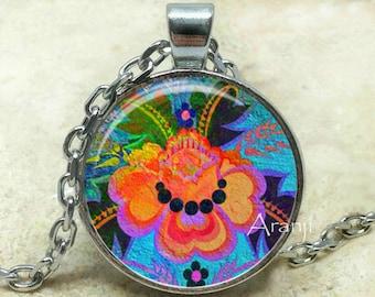 Flower art pendant, flower necklace, colorful flower pendant, flower art necklace, abstract flower, abstract Pendant #PL172P