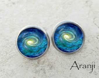 Glass dome spiral galaxy earrings, spiral galaxy earrings, galaxy stud earrings, galaxy earrings SP148E