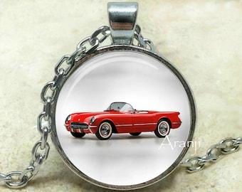 Red Corvette art pendant, red Corvette pendant, Corvette necklace, classic Corvette pendant, classic car pendant,  red car, Pendant#HG146P