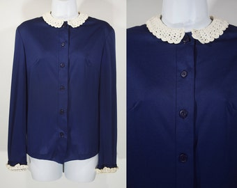 10 DOLLAR SALE---Vintage 60's Lace Collared Navy Blue Polyester Blouse S/M