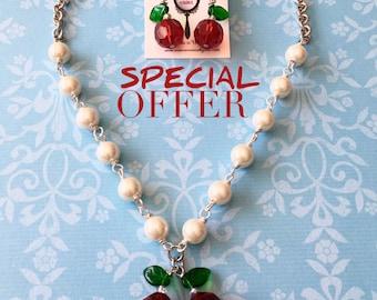 Cherry Sundae pearl necklace set - pinup - vintage - rockabilly