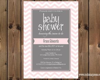 Pink and Grey Baby Shower Chevron Invitation, Digital File,  PRINTABLE _1206