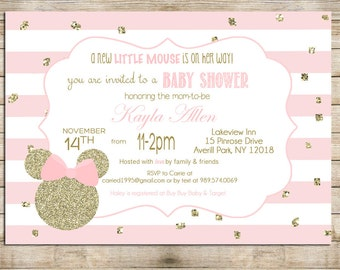 Minnie Mouse Baby Shower Invitation, Gold and Pink Minnie Mouse Shower Invite, Digital File,  PRINTABLE _1214