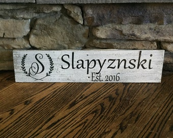 Custom Family Name and Established Date  Monogram  Barn Wood  Sign 24x5