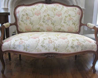 French Settee Sofa with Hand Carved Fruitwood Frame