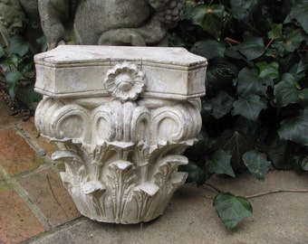 Antique Hand Carved Wood Column Capital