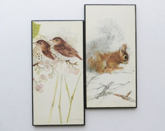 70s Mads Stage Lithograph Prints Wood Plaques Wall Art Birds and Squirrel Woodland Rustic Cottage Chic Decor
