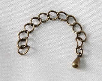 8 pcs - Dark Antique Vintage Gold Bronze Extender Chain