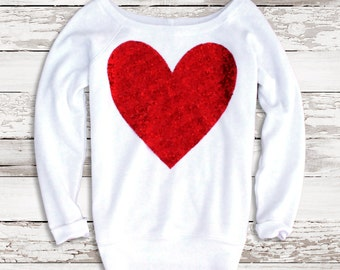 Red Sequin Heart Sweatshirt Jumper Valentines Day Shirt with Sequin Heart Gift Ideas for Her Women Girlfriend Teen Wide Neck Slouchy Tumblr
