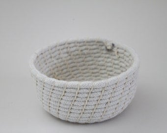 Upcycled 'Nude' Rope Basket: Neutrals/ Coiled / Small